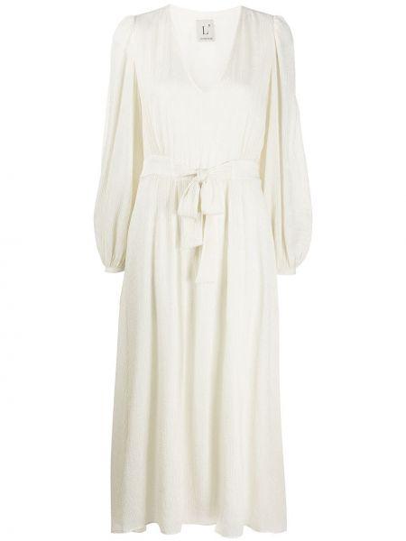Платье миди плиссированное с V-образным вырезом Lautre Chose