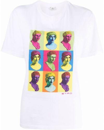 Белая хлопковая футболка Etro