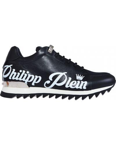 Черные кожаные кроссовки Philipp Plein