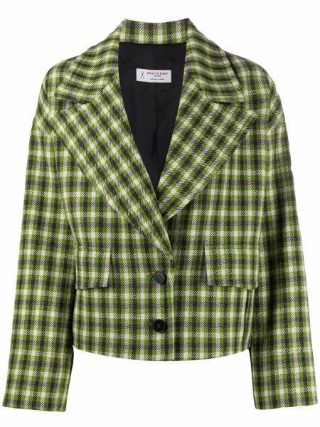 Шерстяной однобортный удлиненный пиджак в клетку Alberto Biani