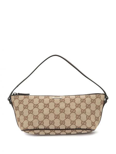 Парусиновая серебряная сумка на плечо на молнии Gucci Pre-owned