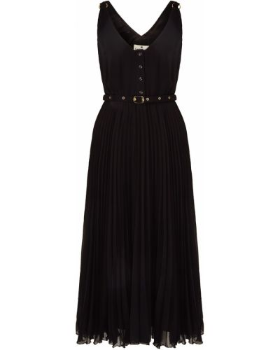 Шифоновое черное платье миди с поясом Laroom