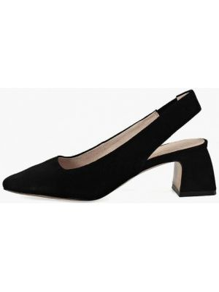 Велюровые черные туфли с открытой пяткой Portal