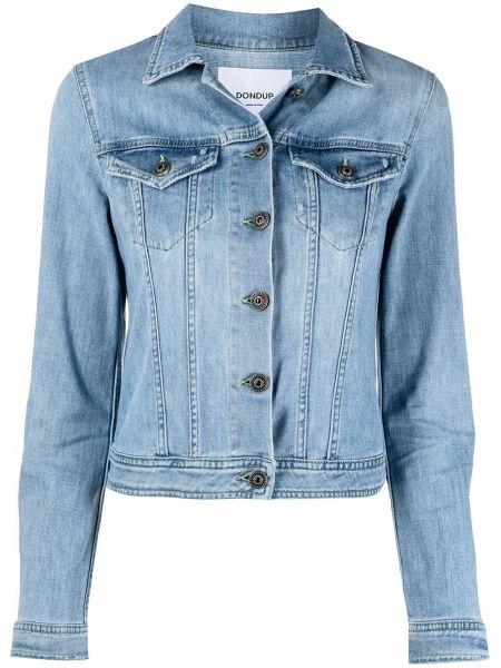 С рукавами синяя джинсовая куртка с воротником Dondup
