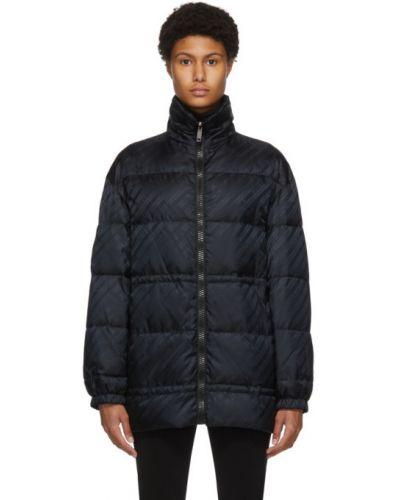 Z rękawami czarny pikowana kurtka z mankietami ze stójką Givenchy