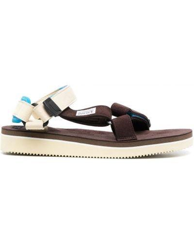 Beżowe sandały skorzane peep toe Suicoke