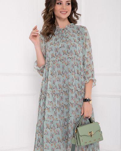 Платье свободного кроя с оборками с воротником из вискозы Bellovera