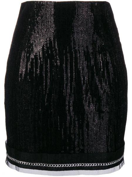 Плиссированная черная юбка мини с пайетками Plein Sud