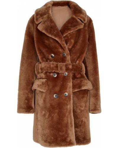 Коричневое пальто с поясом Zeynep Arã§ay