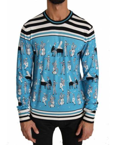 Biały pulower z jedwabiu w paski Dolce And Gabbana