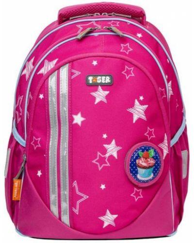 Рюкзак с аппликациями розовый Tiger