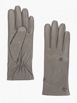 Серые кожаные перчатки Eleganzza