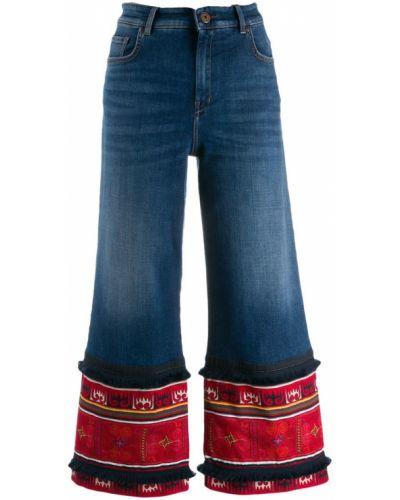 Расклешенные укороченные джинсы на пуговицах с поясом в стиле бохо Weekend Max Mara
