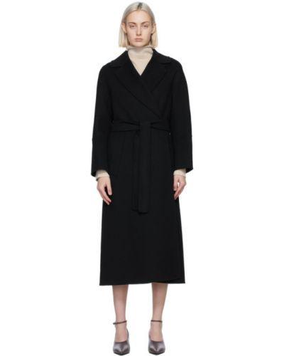 Шерстяное черное длинное пальто с воротником 's Max Mara