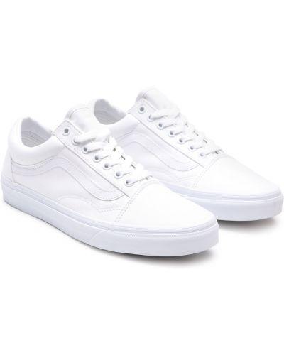 Белые низкие кеды в полоску на шнуровке Vans