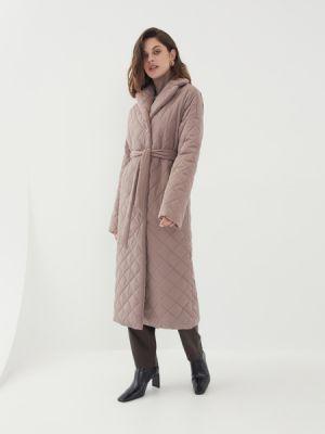 Бежевое пальто с поясом Zarina