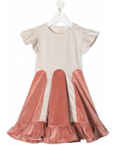 Розовое платье с рукавами с вырезом круглое с оборками Owa Yurika