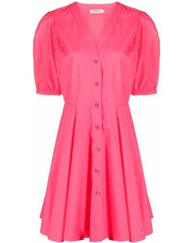 Расклешенное розовое платье мини с короткими рукавами Twin-set