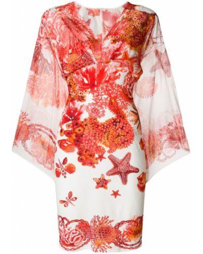 Платье с V-образным вырезом с открытой спиной шелковое Roberto Cavalli