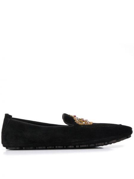 Kapcie skórzany czarny Dolce And Gabbana