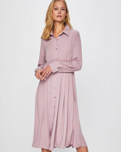 Sukienka midi z długim rękawem w pasy Glamorous