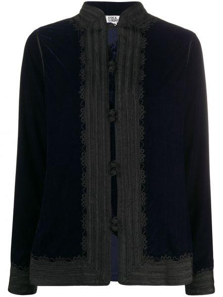Куртка бархатная синий Folkloore