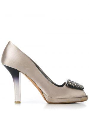 Серебряные кожаные туфли Prada Pre-owned