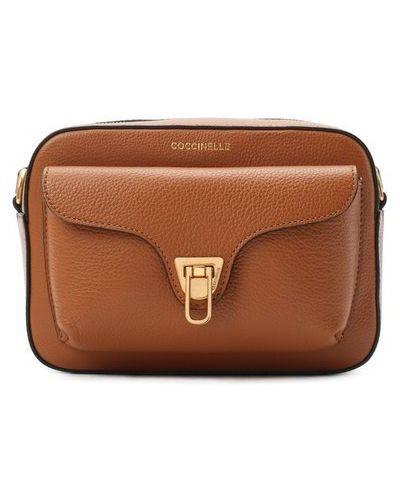 Мягкая кожаная коричневая сумка Coccinelle