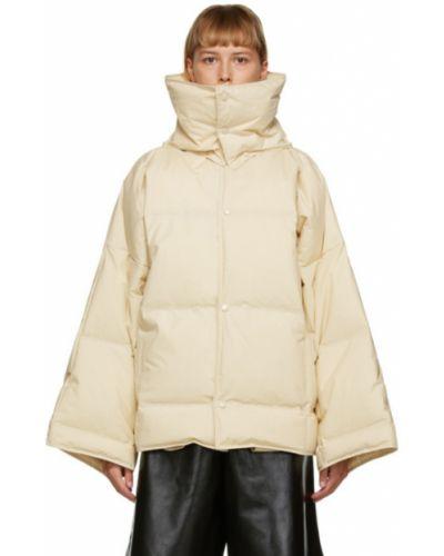 Стеганое белое пуховое длинное пальто Bottega Veneta