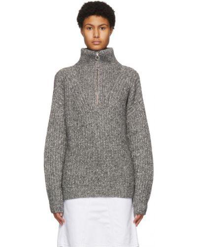 Хлопковый белый длинный свитер с воротником Isabel Marant Étoile