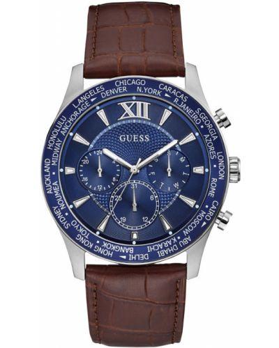 Часы водонепроницаемые с кожаным ремешком синий Guess
