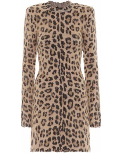Платье мини леопардовое бежевое Unravel