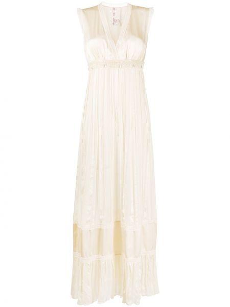 Beżowa sukienka z jedwabiu bez rękawów Antonio Marras