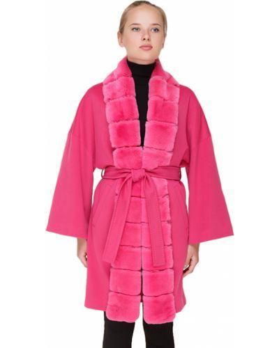 Розовое шерстяное пальто с капюшоном Heresis