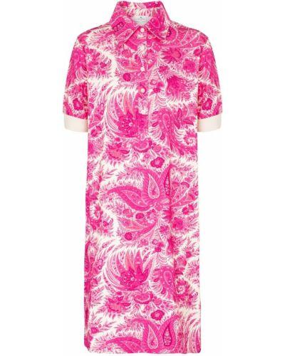 Хлопковое розовое платье-рубашка стрейч Etro