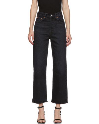 Кожаные черные прямые джинсы стрейч с заплатками Levi's®