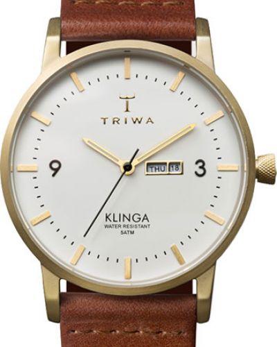 Водонепроницаемые часы на кожаном ремешке кварцевые Triwa