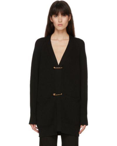 Шерстяной черный кардиган с карманами с воротником Versace