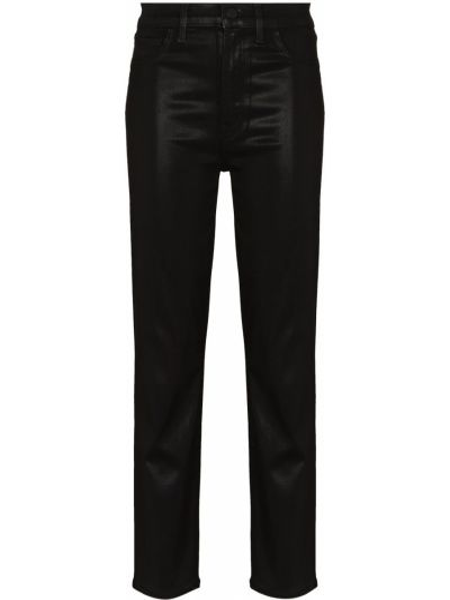 Черные с завышенной талией кожаные классические брюки J Brand