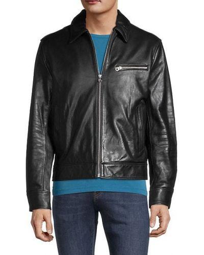Czarna kurtka jeansowa skórzana z długimi rękawami Rag & Bone