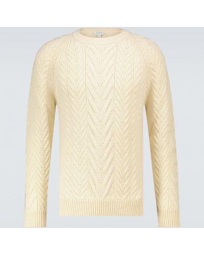 Повседневный шерстяной белый свитер Sunspel
