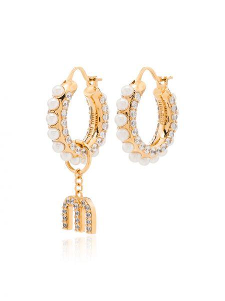 Beżowe złote kolczyki sztyfty perły Miu Miu