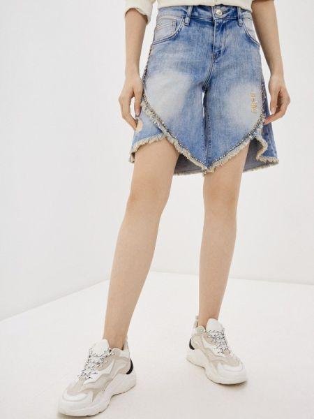 Джинсовые шорты со стразами D'she