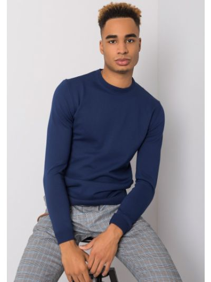 Klasyczny niebieski sweter z wiskozy Fashionhunters