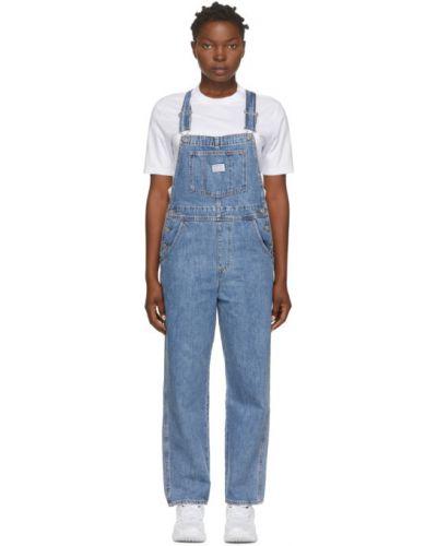 Кожаный белый джинсовый комбинезон на бретелях с карманами Levi's®
