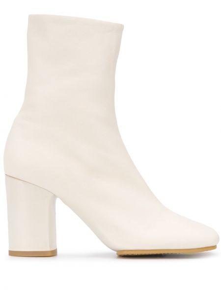 Skórzany biały buty na pięcie na pięcie plac Acne Studios