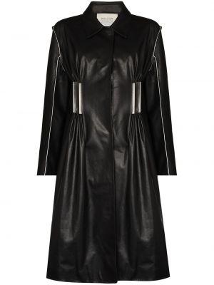 Черное кожаное пальто классическое с воротником 1017 Alyx 9sm