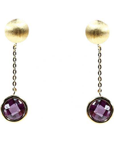 Серебряные серьги с фианитом золотые Jewelry Box