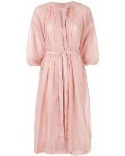 Расклешенное розовое пальто классическое с капюшоном Blueflag + Kiminori Morishita