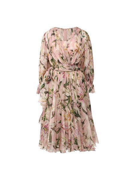 Платье миди с запахом с поясом Dolce & Gabbana